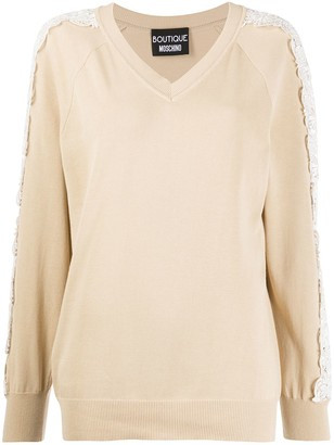 Boutique Moschino Lace-Embellished Relaxed-Fit Jumper