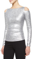 Donna Karan Cold-Shoulder Date-Night Top, Silver