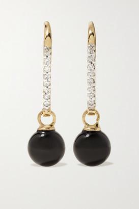 Mateo 14-karat Gold, Onyx And Diamond Earrings - one size