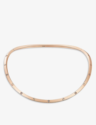 Cartier LOVE 18ct rose-gold and 0.21ct diamond torque necklace