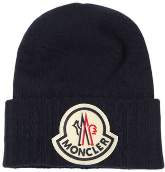 Moncler Virgin Wool Knit Beanie W/ Macro Logo