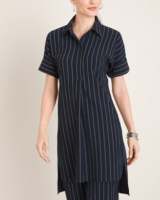 Travelers Collection Modern Texture Button-Front Tunic