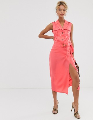 NEVER FULLY DRESSED wrap front skirt in pink