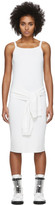 Helmut Lang White Rayon Tie Waist Dress