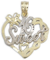 JCPenney FINE JEWELRY 14K Two-Tone Gold Sweet 16 Pendant