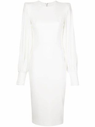 Alex Perry Structured Shoulder Billowed Sleeve Dress
