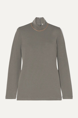 Brunello Cucinelli Bead-embellished Stretch-cotton Jersey Turtleneck Top - Green