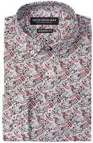Nick Graham Red Paisley Modern Fit Long Sleeve Dress Shirt