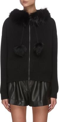 Alice + Olivia 'OSCAR' Fur Trim Merino Wool Oversize Hoodie