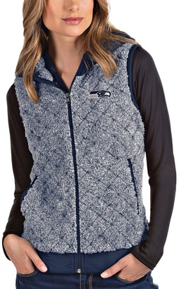 Antigua Women's Heathered College Navy Seattle Seahawks Fame Hooded Full-Zip Vest