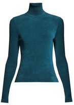 Alexandre Vauthier High-neck Ribbed Chenille Sweater - Womens - Blue
