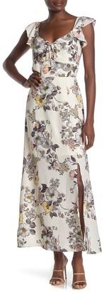 Max & Ash Flutter Sleeve Tie Front Maxi Dress