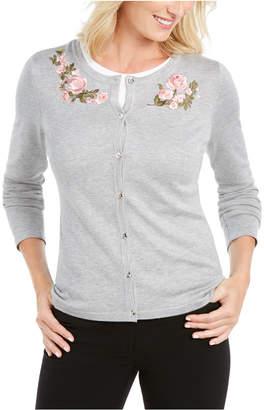 Karen Scott Petite Floral-Embroidered Cardigan