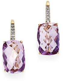 Bloomingdale's Rose Amethyst & Diamond Drop Earrings in 14K Yellow Gold - 100% Exclusive