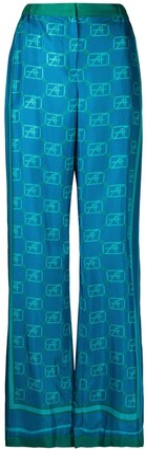 Alberta Ferretti Monogram Print Wide Leg Trousers