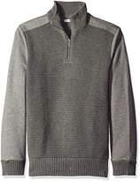 Calvin Klein Jeans Men's Quarter Zip Ottoman Tube Mixed Gauge Sweater