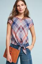 Cloth & Stone Plaid Tie-Front Blouse