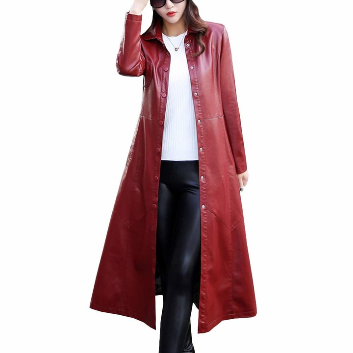 Faux Leather Trench Jacket Coat P6709, Womens Faux Leather Trench Coat Uk