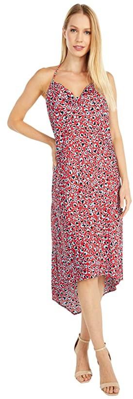BCBGeneration Cocktail Cowl Neck Asymmetrical Woven Dress - TYE6235277 (Cherry/Leopard) Women's Dress