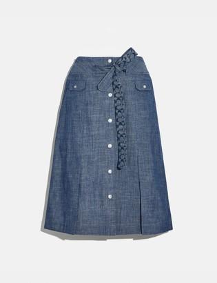 Coach Chambray Tie Waist Midi Skirt