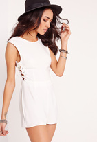 Missguided Petite Exclusive Lace Up Romper White