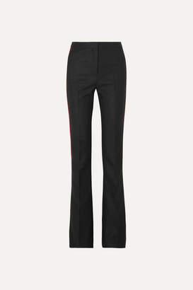 Alexander McQueen Striped Grain De Poudre Flared Pants - Black