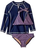 Toobydoo Navy Pink Pattern Bikini Navy Rashguard Set Girl's Swimwear Sets