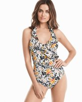 White House Black Market Floral Ruffled Halter One-Piece Swimsuit