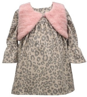 Bonnie Baby Baby Girls Long Sleeve Animal Print Dress With Faux Fur Vest