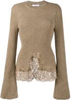 Givenchy knitted lace hem jumper - women - Cotton/Polyamide/Viscose/Wool - XS