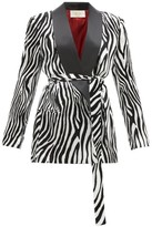 Sara Battaglia Zebra-print Satin-lapel Velvet Blazer - Womens - Black White