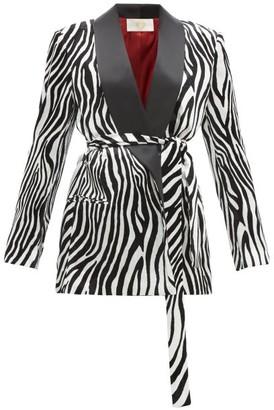 Sara Battaglia Zebra-print Satin-lapel Velvet Blazer - Womens - Black White