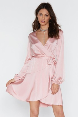 Nasty Gal Womens Touch and Go Wrap Satin Dress - Pink