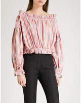 Vivienne Westwood Striped off-the-shoulder cotton top