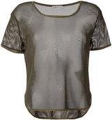 Moncler sheer mesh T-shirt - women - Elastodiene/Polyimide - S