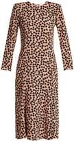 Raey Bracelet-sleeve pleat-front Ditsy-print silk dress