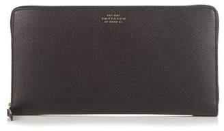 Smythson Panama Leather Travel Wallet - Mens - Black