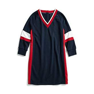 Tommy Hilfiger Women's Adaptive Sweatshirt Dress Varsity Stripe with Magnetic Buttons