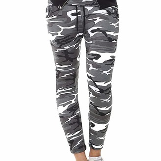 Owasi Pack of 2 Womens Gym Jogger Military Army Print Camouflage Trouser Sports Jogging Ladies Leggings Tracksuit Bottoms Plus Size (Grey Camouflage Trouser XL)