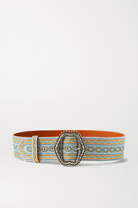 Etro Embroidered Leather Belt - Ivory