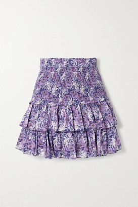 Etoile Isabel Marant Naomi Shirred Tiered Floral-print Cotton-voile Mini Skirt - Purple
