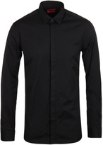 Hugo Esid Black Pleated Collar & Cuff Long Sleeve Shirt