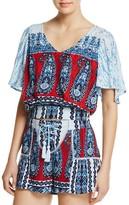 Aqua Paisley Floral Print Tie-Back Top - 100% Exclusive
