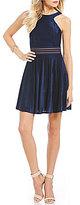 Jodi Kristopher Shadow-Stripe Velvet A-Line Dress