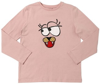 Stella Mccartney Kids Funny Face L/S Cotton Jersey T-Shirt