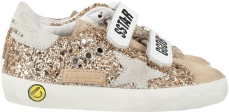 Golden Goose Gold old School Sneakers For Girl With Iconic Star