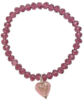 Murano Martick Faceted Crystal Heart Bracelet