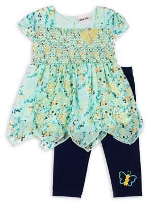 Little Lass Little Girl's Butterfly 2-Piece Floral-Print Top & Leggings Set