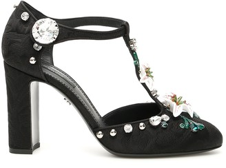Dolce & Gabbana T-strap Sandals With Lilies
