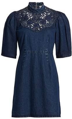 Sea Olivia Soutach Trim Denim Mini Dress